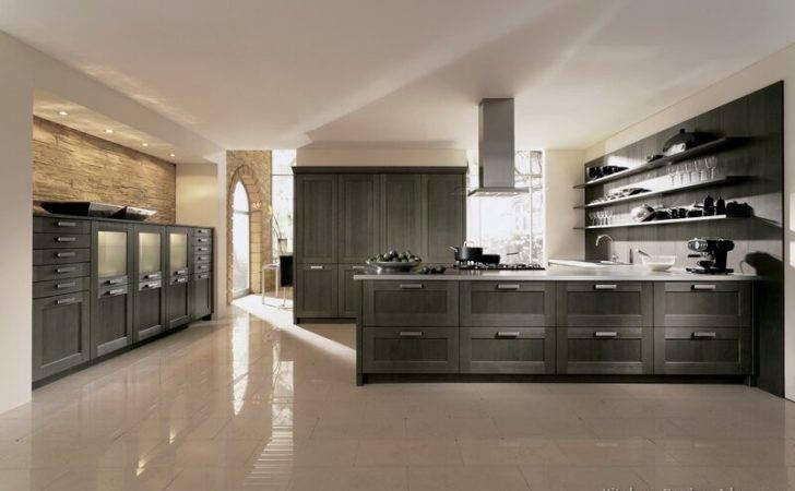 Kitchen Cabinets Modern Gray Painted Wood Peninsula Steel