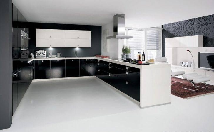 Kitchen Cabinets Modern Two Tone Black White Peninsula Steel