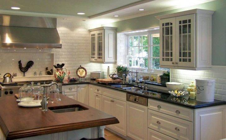 Kitchen Cabinets Traditional White Dkl Green Walls Wood Island