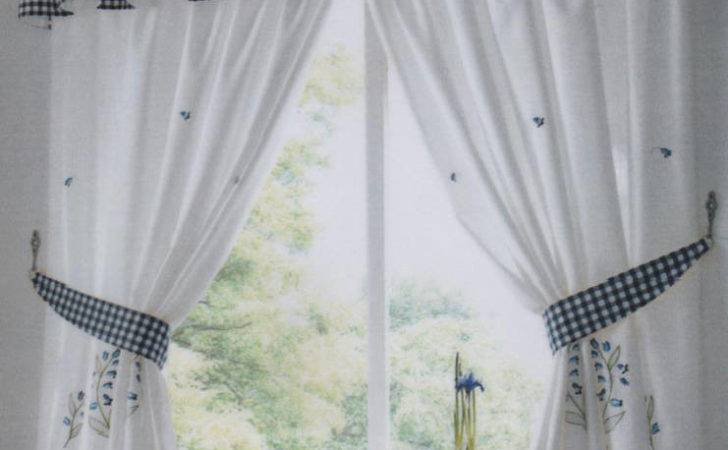 Kitchen Curtains Blue Bell Includes Tie Backs Pelmet Sold