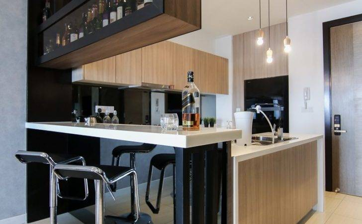 Kitchen Design Integrated Bar Counter Small Condo Home