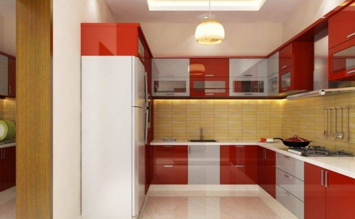 Kitchen Design Small Space Featured Awesome Red Modular Cabinets