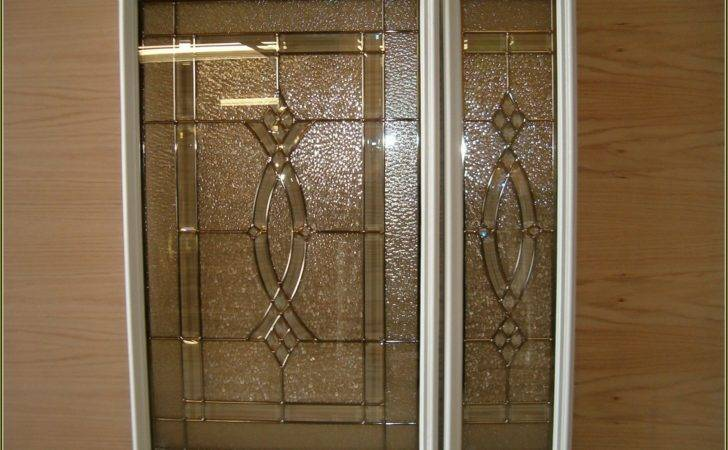 Kitchen Etched Glass Cabinet Doors Saute Pans Sparkling