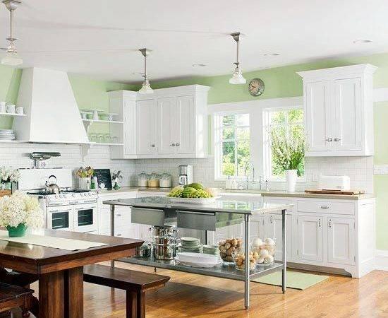 Kitchen Green Walls White Cabinets Pinterest