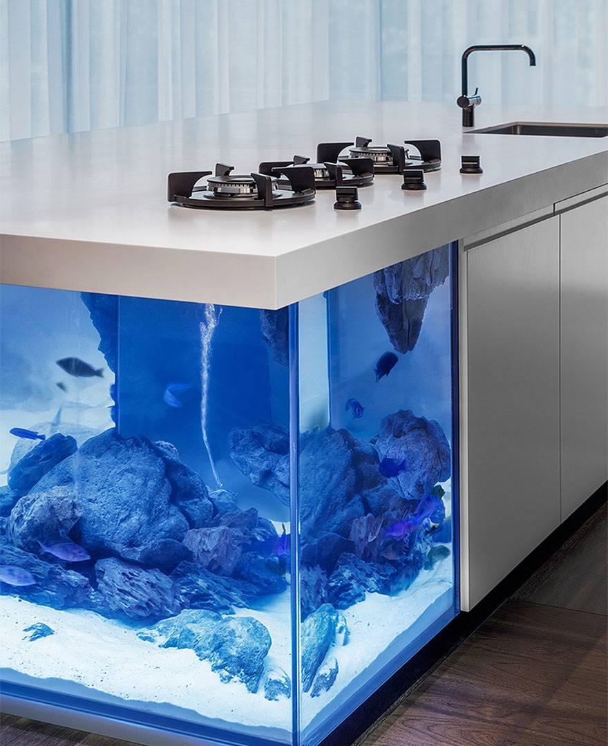 Kitchen Island Also Giant Aquarium Bored Panda