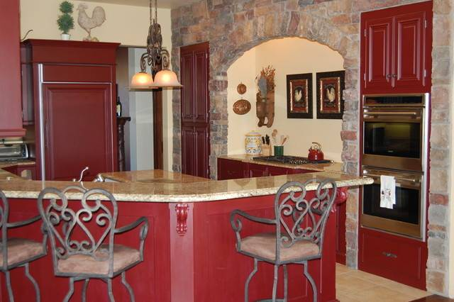 Kitchen Red French Country Interior Exterior Doors