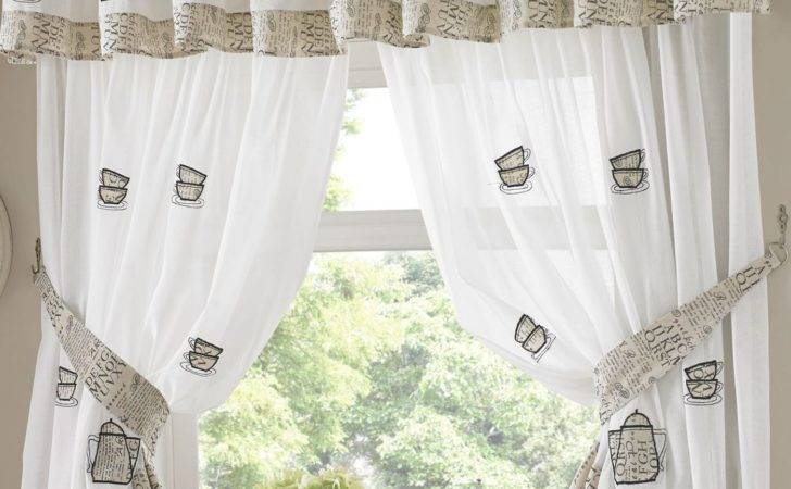 Kitchen Window Curtains Pair Voile Matching Pelmets