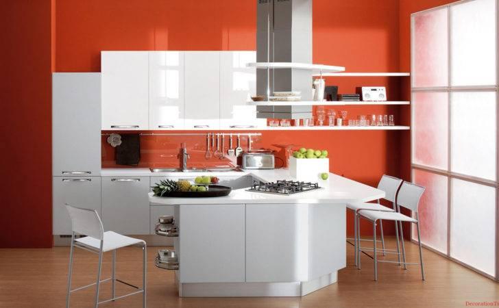 Kitchens Latest Small Kitchen Designs Orange Wall Paint White