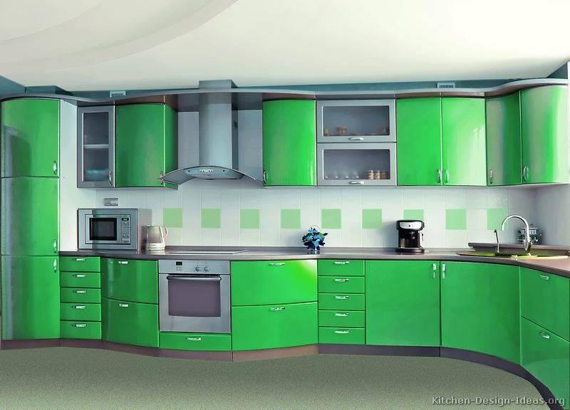 Kitchens Modern Green Kitchen Cabinets