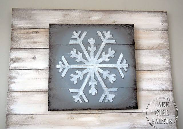 Lake Girl Paints Big White Snowflake Painted Wood Pallet Boards