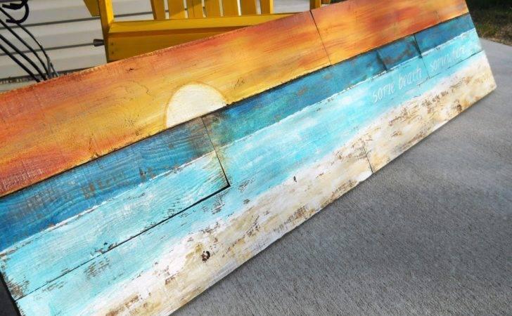 Lake Girl Paints Sunset Beach Art Fence Boards