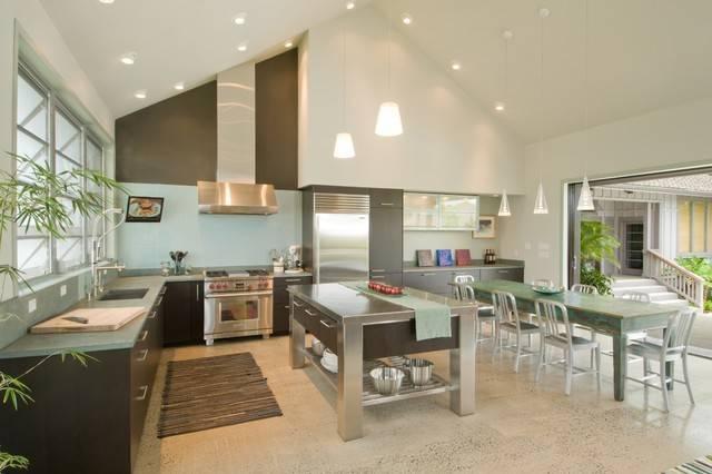 Lamp Range Hood Arrangement Idea Tropical Kitchen