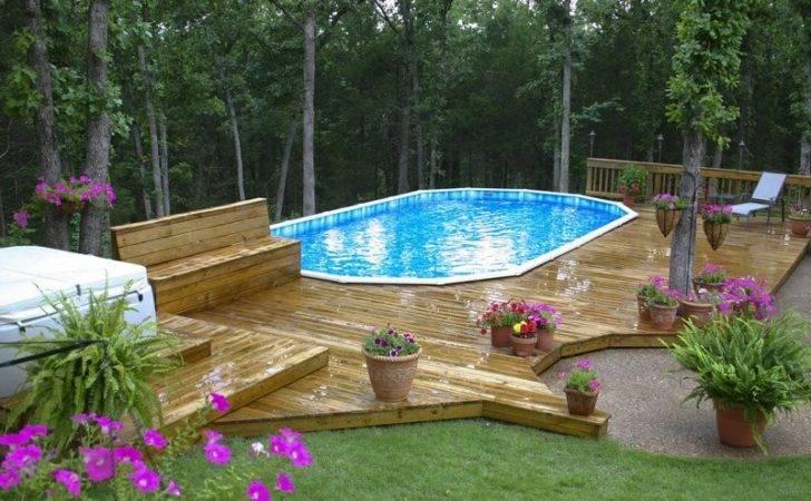 Landscape Backyard Design Ideas Kids Above Ground Pool