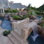 Large Backyard Lazy River Pool Design Rock Garden Lounge