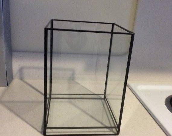 Large Black Metal Glass Terrarium Geometric