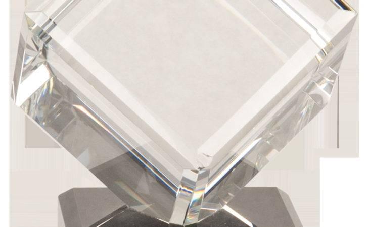 Large Crystal Cube Black Base Rhino Gift