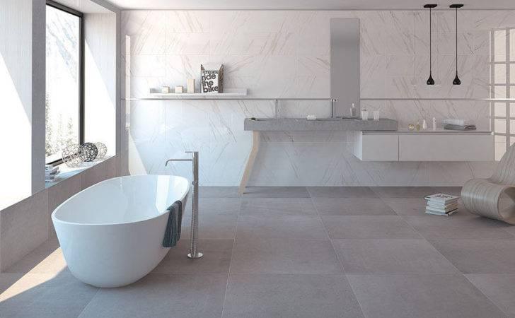 Large Floor Tiles Used Bathroom Help Keep Room