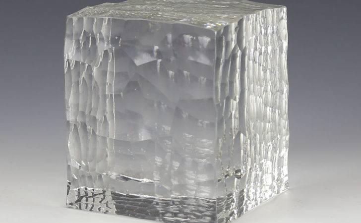 Large Geometric Crystal Clear Cut Textured Cube Form Art