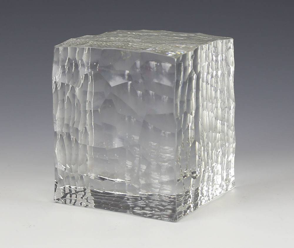 Large Geometric Crystal Clear Cut Textured Cube Form Art