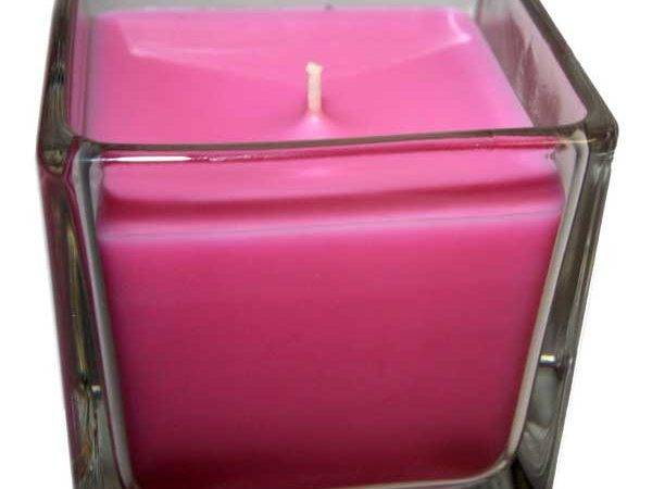 Large Glass Cube Candle Patchouli Tibetan Musk