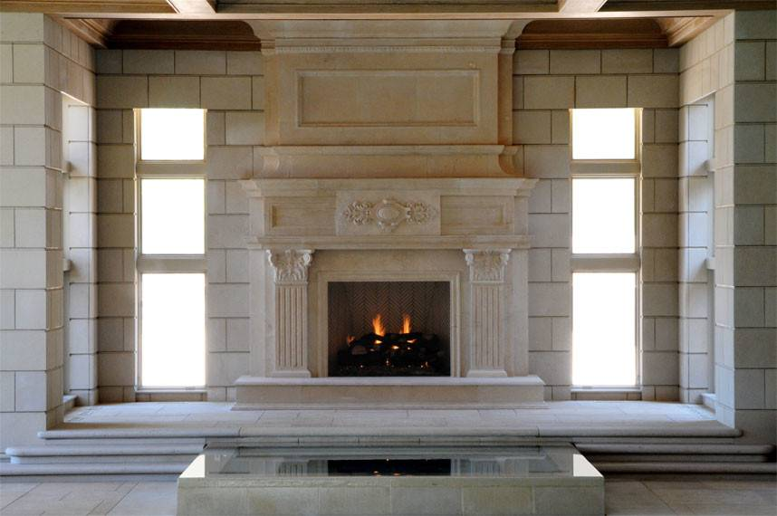 Large Jeruselem Limestone Fireplace Mantel
