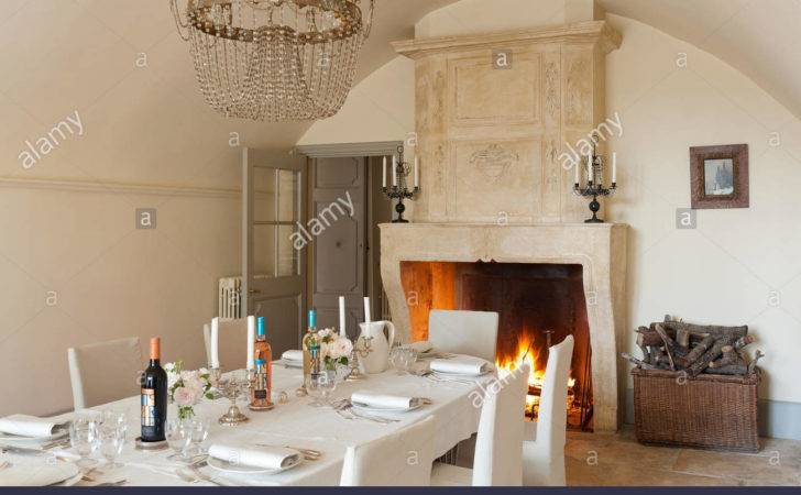 Large Open Stone Fireplace Vaulted Dining Room Century