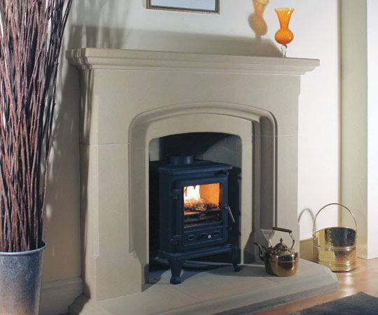 Large Opening Stone Firebox Chamber Moulded Hearth