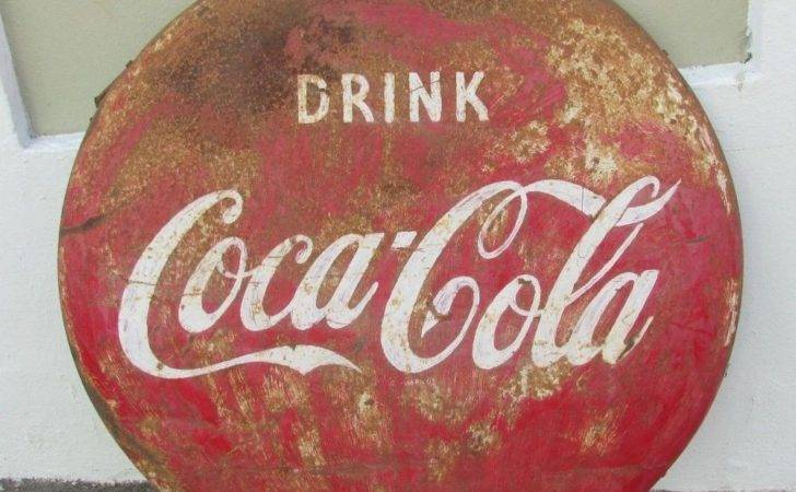 Large Vintage Drink Coca Cola Button Steel Sign Barn Fresh Ebay