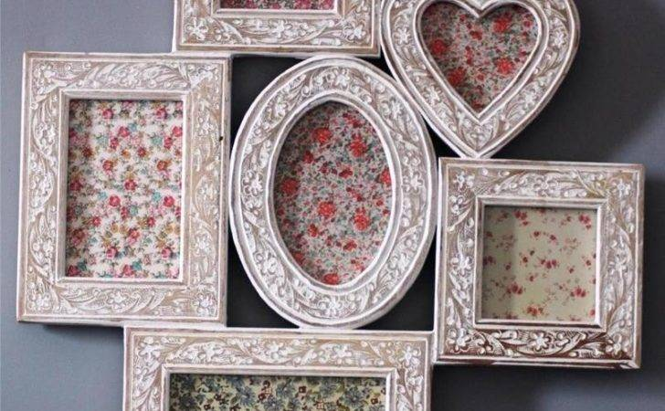 Large Vintage Wooden Collage Frame Shabby Chic Carved