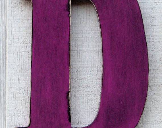 Large Wooden Letters Distressed Painted Violet Tall Wood Name