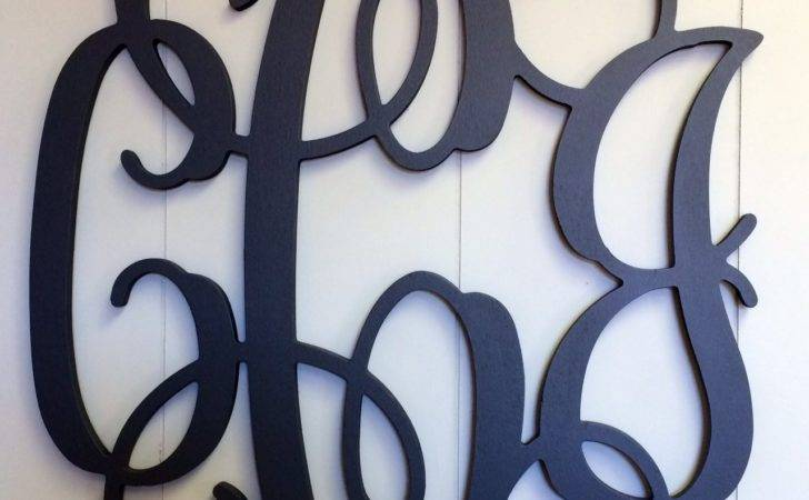 Large Wooden Monogram Letters Paintedcursive Capital