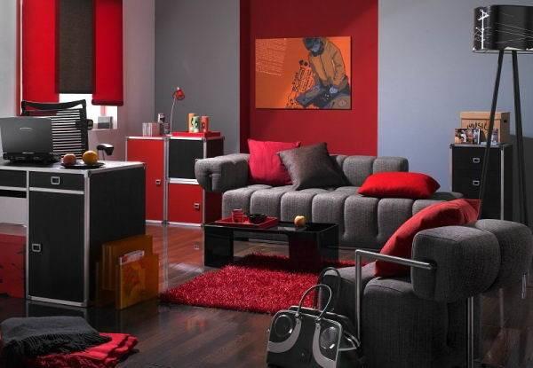 Lavish Luxurious Red Black Living Room Designs Concepts