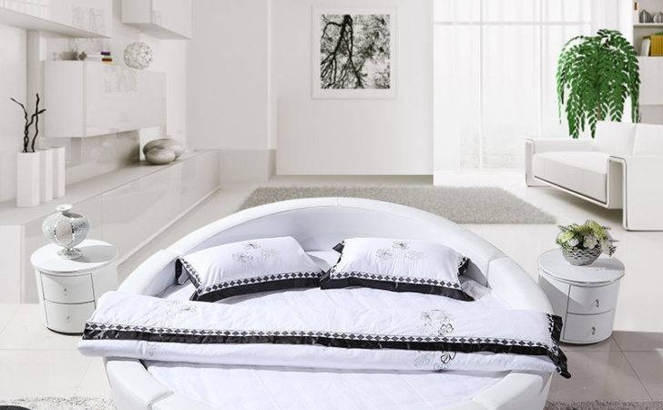 Leather Bed Modern Round Beds Soft Furniture