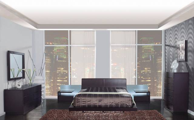 Leather High End Bedroom Furniture Sets Extra Storage Modern