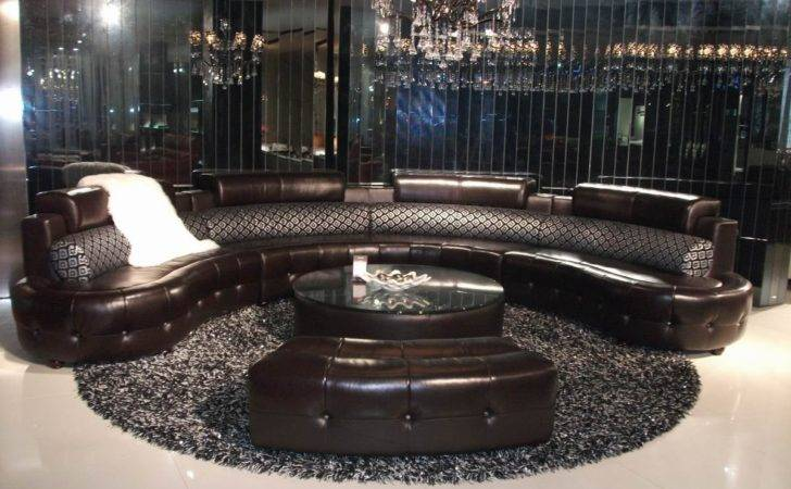 Leather Round Sofa Fabric Pillows Crystal Buttons Coffee