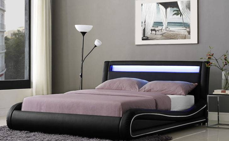 Led Double Bed Frame King Faux Leather Headboard