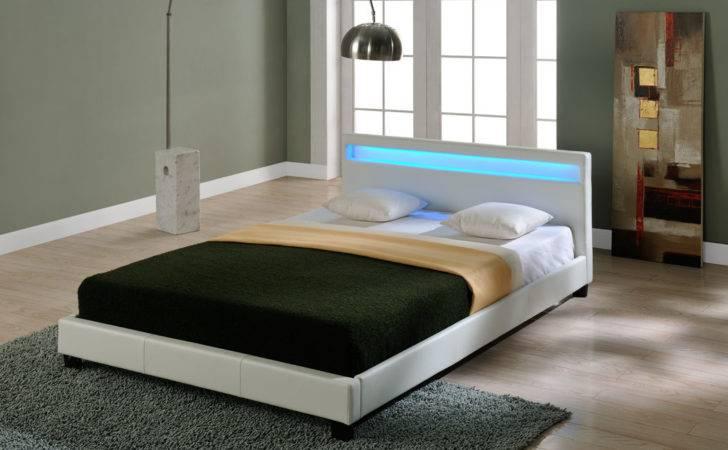Led Double Bed Upholstered Bedstead Frame