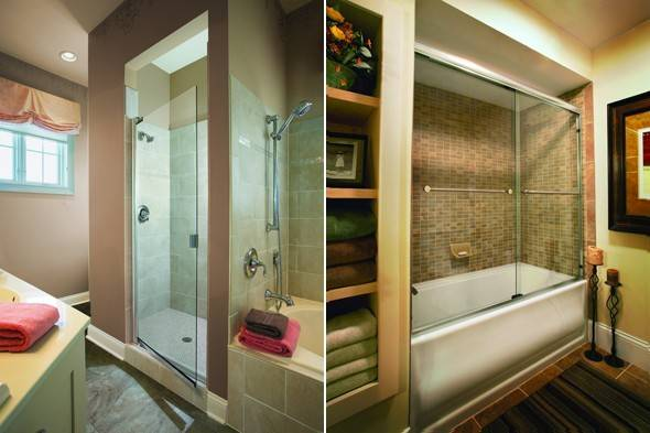 Left Basco Classic Swinging Frameless Shower Door Right