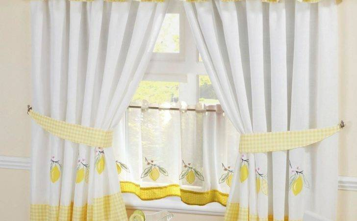 Lemon Gingham Embroidered Kitchen Curtains Pelmet