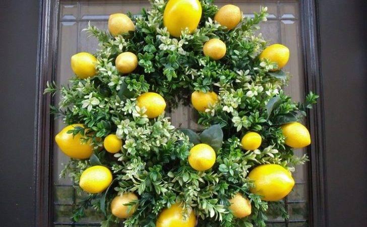 Lemon Kitchen Decor Boxwood Wreath Spring Wreaths