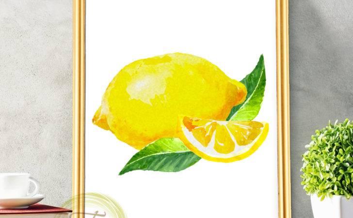 Lemon Print Decor Wall Art Kitchen