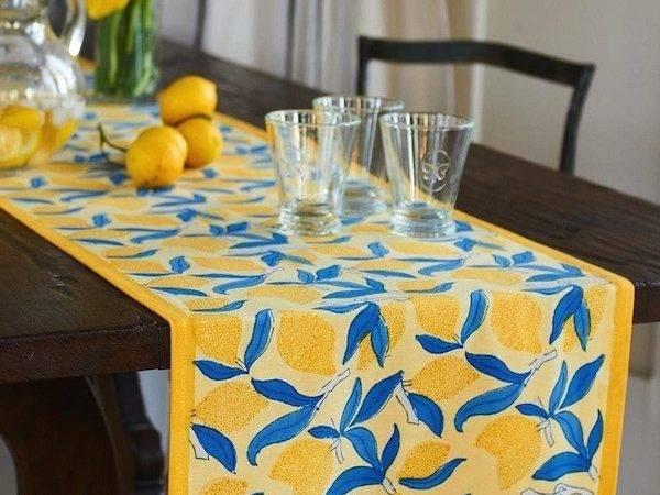 Lemon Tree Table Runner Tabletop Kitchen Sugar Spice Decor