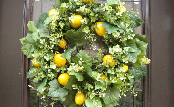 Lemon Wreath Kitchen Decor Spring