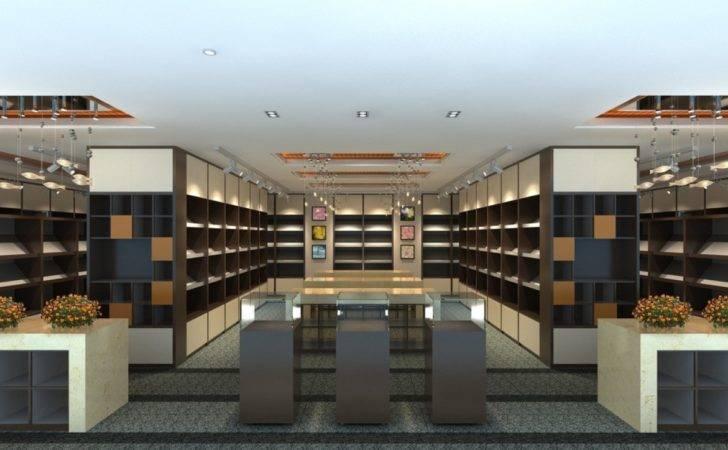 Library Interior Design Rendering Lighting