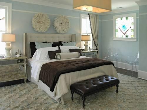 Light Blue Brown Bedroom