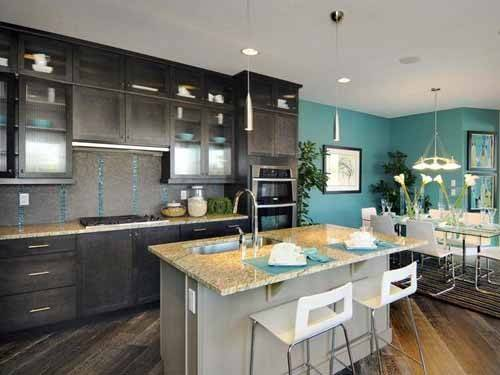 Light Blue Kitchen Dark Cabinets Walls