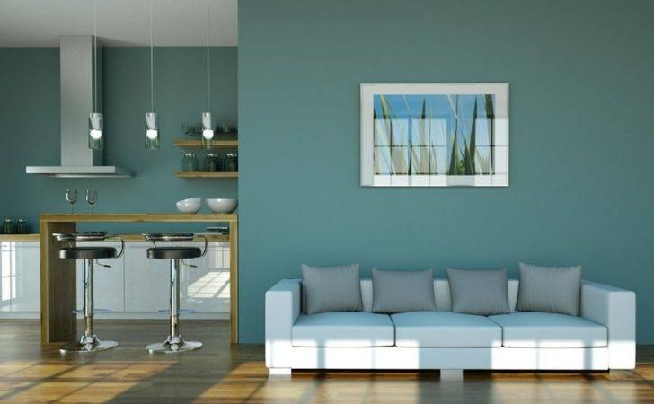Light Blue Wall Living Room Kitchen House