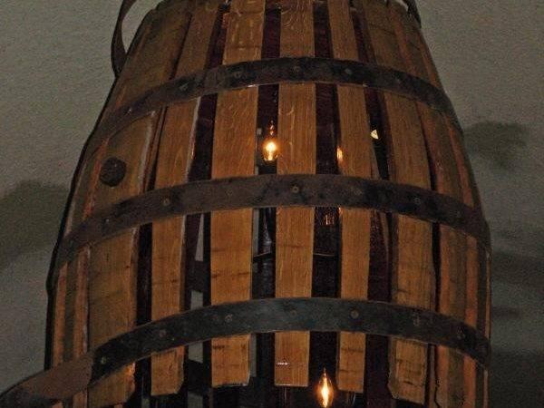 Light Fixture Made Wine Barrel