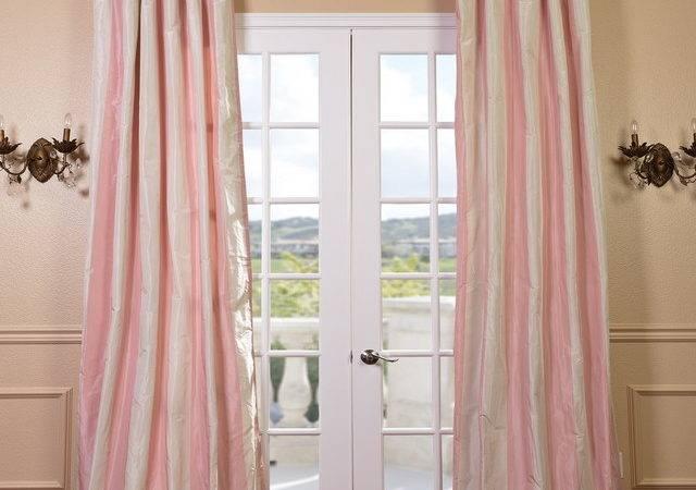 Light Pink Cream Stripe Faux Silk Taffeta Curtain Panel Contemporary