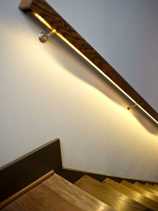 Lighted Handrail Basement Room Pinterest